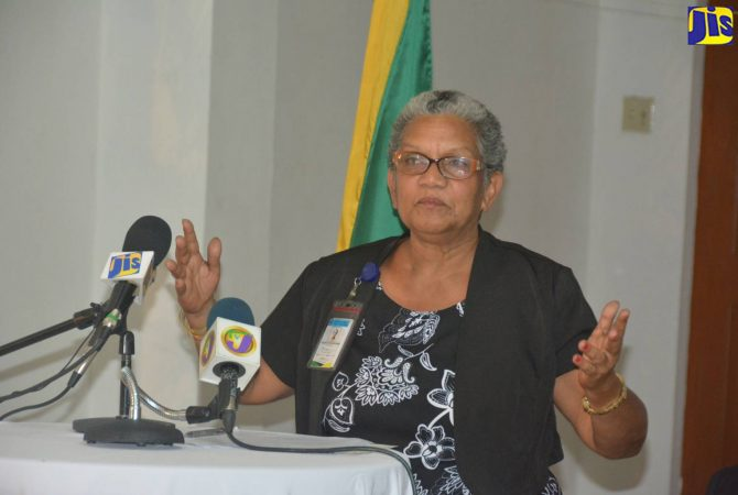 Public Defender, Mrs. Arlene Harrison Henry, speaks at the official opening ceremony for the western Regional Office of the Public Defender, held on January 5 at the St. James Parish Church Hall, Montego Bay.