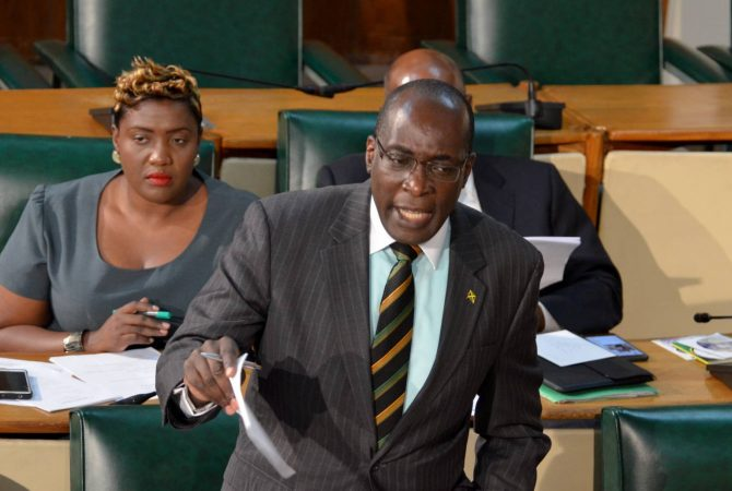 Minister of Education,Youth and Information, Senator the Hon. Ruel Reid, addresses the Senate on April 28.