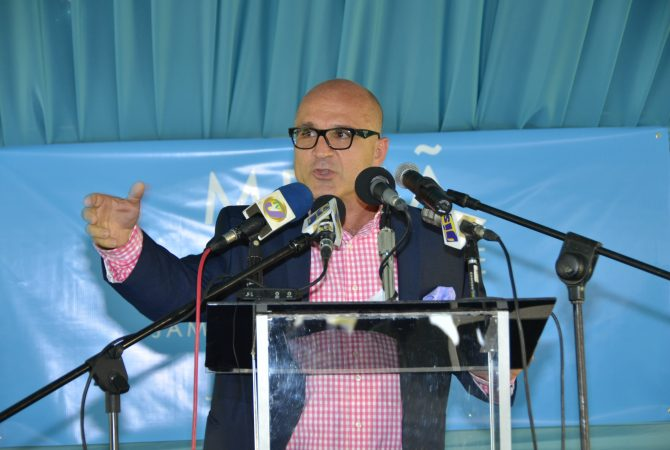 An upbeat, General Manager of the Melia Braco Village, Dimitris Kosvogiannis speaking during a ground breaking event to launch the Melia Braco Village in Trelawny on April 24.