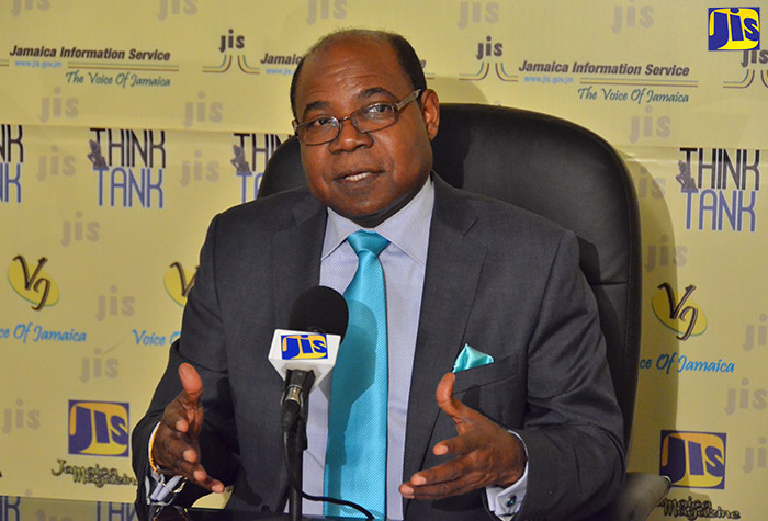 Minister of Tourism, Hon. Edmund Bartlett, highlights the performance of the sector since the start of the year, at a JIS 'Think Tank' on September 20.