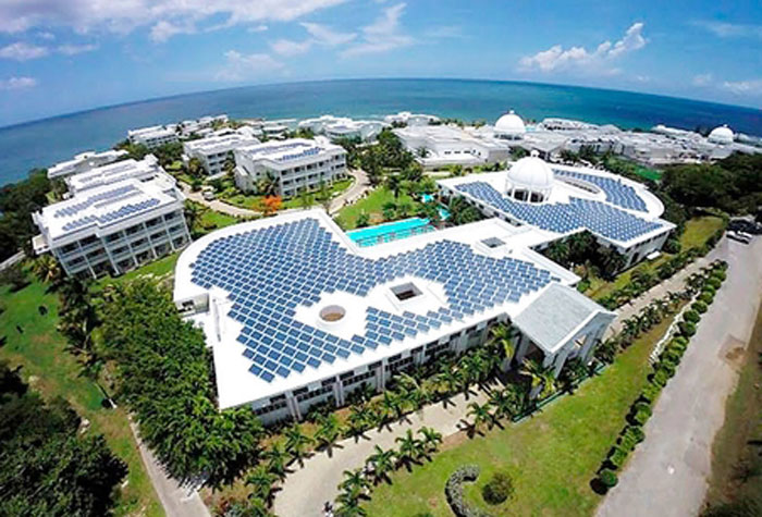 The $388 million (US$3.5 million) 1600 kilowatt solar energy plant at the Grand Palladium Hotel in Hanover, which was commissioned into service on May 30.