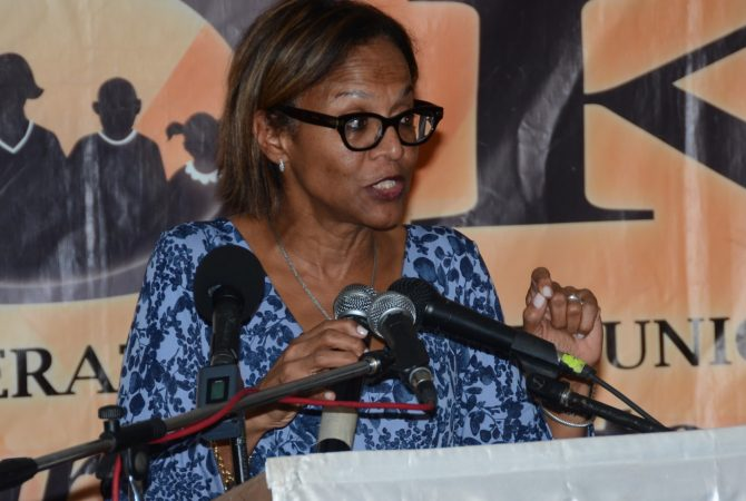 Country Representative for the Inter-American Development Bank (IDB), Theresa Tuner-Jones, addressing the launch of COK Solidarity Co-operative Credit Union Micro Finance Unit, in St. Andrew, on Wednesday (March 25).