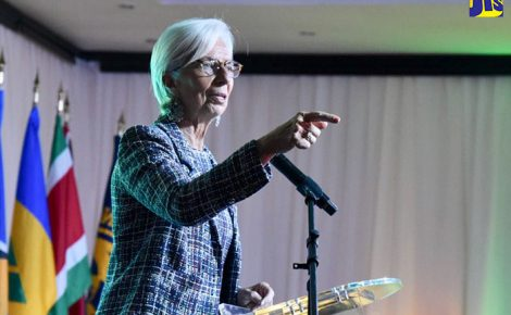 International Monetary Fund (IMF) Managing Director, Christine Lagarde, addresses the Sixth IMF High Level Caribbean Forum held at The Jamaica Pegasus hotel in New Kingston on Thursday (November 16).