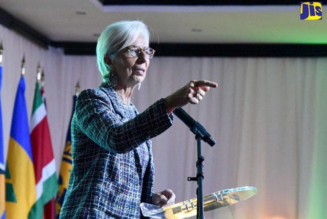 International Monetary Fund (IMF) Managing Director, Christine Lagarde, addresses the Sixth IMF High Level Caribbean Forum held at The Jamaica Pegasus hotel in New Kingston on Thursday (November 16).