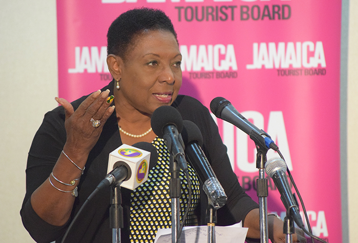 Minister of Culture, Gender, Entertainment and Sport, the Honourable Olivia 'Babsy' Grange making her presentation at the Jamaica House Rio Press Briefing held at the Spanish Court Hotel in Kingston on Thursday, August 25, 2016.