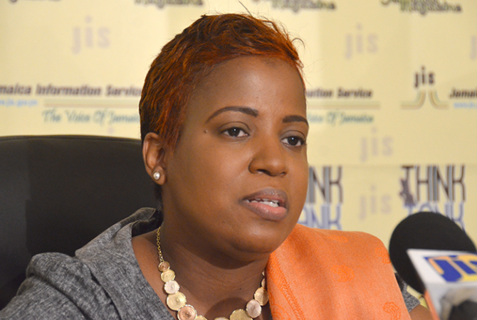 Acting Permanent Secretary in the Ministry of Culture, Gender, Entertainment and Sport, Dr. Janice Lindsay, addressing a Jamaica Information Service Think Tank on Thursday, May 18.