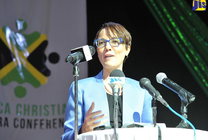Minister of Foreign Affairs and Foreign Trade, Senator the Hon. Kamina Johnson Smith, addressing the Jamaica Christian Diaspora Conference at the Iberostar Rose Hall Suites, St. James on October 14.