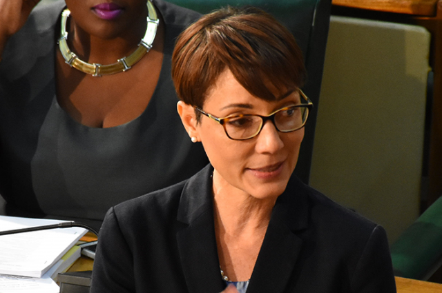 Minister of Foreign Affairs and Foreign Trade and Leader of Government Business in the Senate, Senator the Hon. Kamina Johnson Smith, responds to questions in the Senate today (January 13) regarding the United Kingdom's offer to assist with the building a new maximum-security prison in Jamaica.