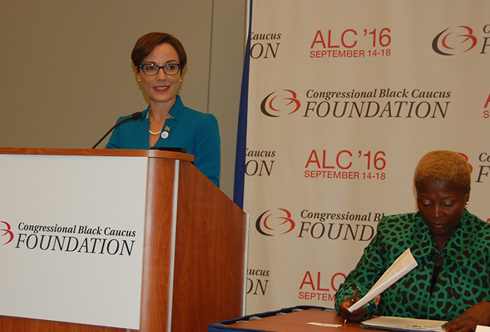 Minister of Foreign Affairs and Foreign Trade, Senator the Hon. Kamina Johnson-Smith, addresses members of the Congressional Black Caucus Legislative Forum conference on de-risking and correspondent banking at the Walter E Washington Convention Centre in Washington, D.C., on September 16. Seated at right is moderator, Ms. Teri Coaxum.