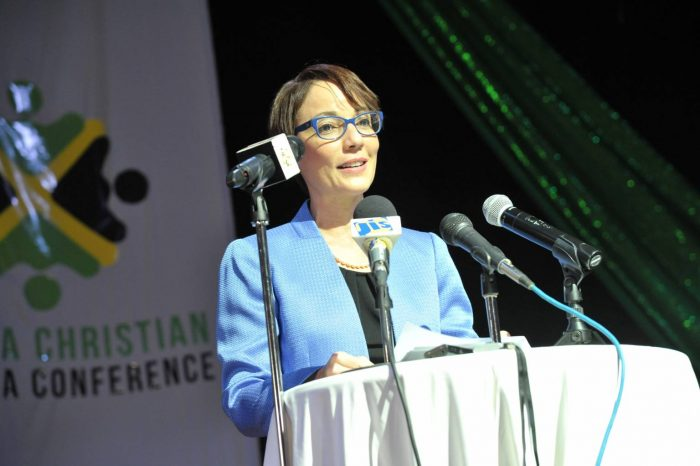 Minister of Foreign Affairs and Foreign Trade Senator the Hon. Kamina Johnson Smith, addressing the Jamaica Christian Diaspora Conference at the Iberostar Suites on October 14.