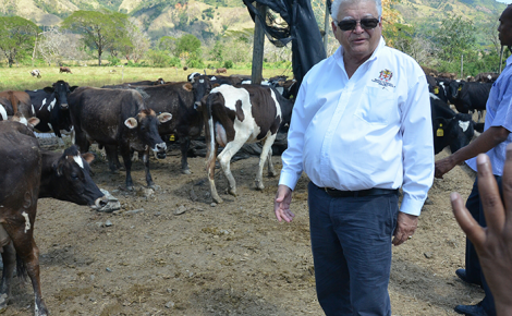 Industry, Commerce, Agriculture and Fisheries, Hon. Karl Samuda, on tour of Serge Island Dairies in Seaforth, St. Thomas, following the launch of a public relations and advertising campaign for the National Animal Identification and Traceability System (NAITS) at the property on Friday, February 10.