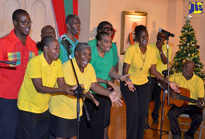 Members of the National Culture Group for the Blind perform a folk selection at the Joy to the World Christmas Concert, held at King's House on Sunday, December 4. The Concert was hosted by Her Excellency, the Most Hon. Lady Allen.