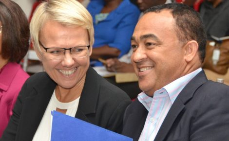 Minister of Health, Dr. the Hon. Christopher Tufton (right), shares a light moment with Head of the Delegation of the European Union, Ambassador Malgorzata Wasilewska, during a recognition ceremony for healthcare professionals at the Jamaica Pegasus Hotel in New Kingston on December 9. A total of 82 participants were awarded for successfully completing specialised training in infant care and management under the training component of the Programme for the Reduction of Maternal and Child Mortality (PROMAC).