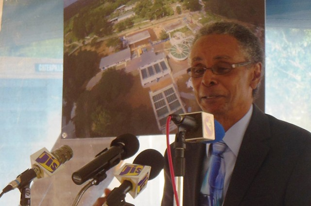 Attorney General and Member of Parliament for North Trelawny, Hon. Partick Atkinson, addresses the commissioning into service of the upgraded Martha Brae facility treatment plant, held on Friday (Feb.13) in Trelawny.