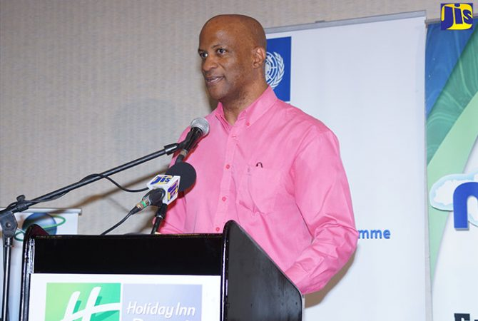 Director of the Environmental and Conservation Division at the National Environment and Planning Agency (NEPA) Anthony McKenzie, addressing a recent United Nations Development Programme and NEPA 'Protected Areas Outreach Event' at the Holiday Inn Resort in Montego Bay, St. James.