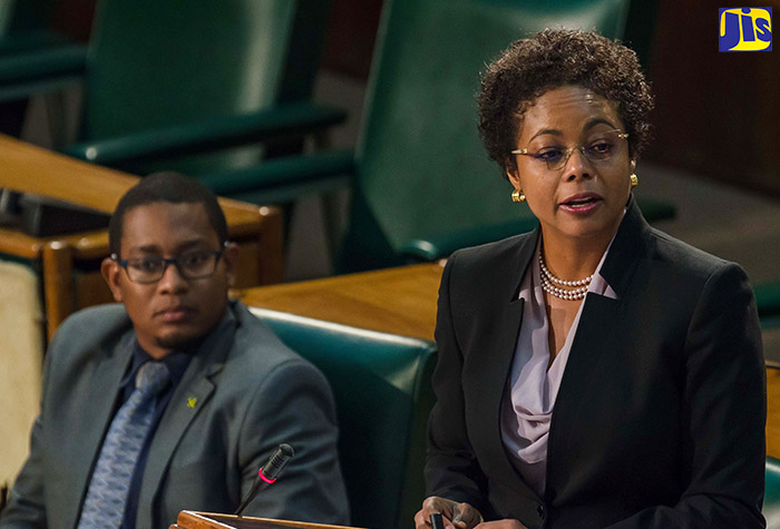 Attorney General, Hon. Marlene Malahoo Forte, addresses yesterday's (October 27) sitting of the House of Representatives.