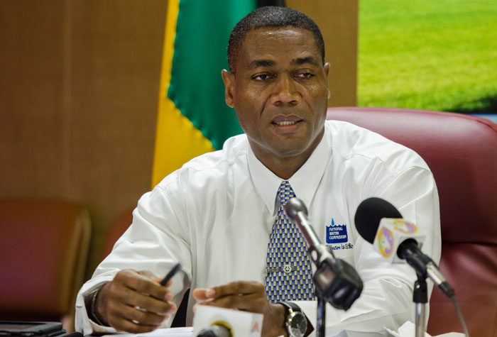 Acting President of the National Water Commission (NWC), Mark Barnett, responds to questions from media personnel during a press conference on July 1, at the offices of the National Environment and Planning Agency (NEPA) in Kingston. It was held to provide an update on the Government's plans to mitigate drought conditions currently affecting the island.