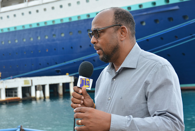 Chairman of Jamaica National Cruise Council and Mayor of St. Ann's Bay, Michael Belnavis,fielding questions at the Reynolds' Cruise Pier in Ocho Rios.