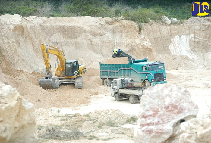 A limestone pit being mined in Clarendon.