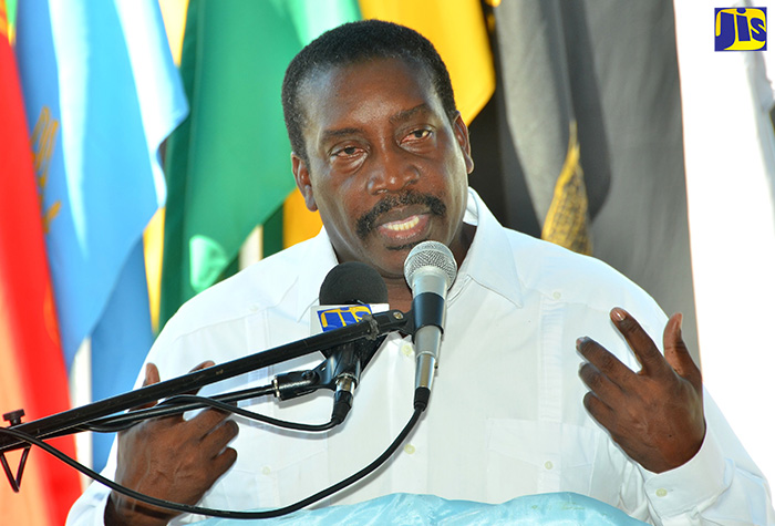 National Security Minister, Hon. Robert Montague, emphasises a point while addressing the commissioning of a Cessna aeroplane for the Jamaica Combined Cadet Force (JCCF), at the Caribbean Aviation Training Centre situated at the Tinson Pen Aerodrome in Kingston on Friday, September 23. (FILE)