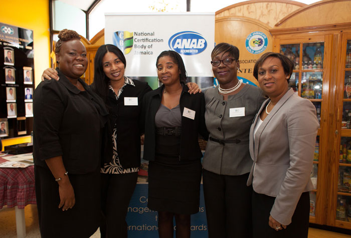 Representatives from the National Certification Body of Jamaica (NCBJ) get together after the last Stakeholders Awareness Forum  earlier this year, in Kingston. Members of the team are (from left): Operations Officer, Shelly-Ann Brown; Assistant Operations Officer, Georgette Smith; Administrative Assistant, Patrene Walcott; Manager of NCBJ, Jacqueline Scott-Brown, and Team Leader, Certification Programmes, Michelle Sturridge.