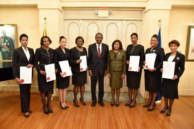 New Puisne Judges sworn in: Chief Justice, Zaila McCalla (4th right) and President of the Court of Appeal, Dennis Morrison (centre) share a moment with judges who were sworn in to higher office during a ceremony at King's House on Friday (January 5). They are (from left) Sonya M. Wint Blair, Stephane A. Jackson Haisley, Carolyn N. Tie, Judith A. Pusey, Simone Wolfe Reece, Anne-Marie A. Nembhard and Natalie Hart Hines.