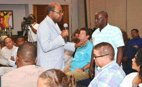 Minister of Tourism, Hon. Edmund Bartlett (left), assures tourism stakeholders that the immediate economic fallout from the United Kingdom's exit from the European Union (BREXIT), will not be severe . The Minister met with the stakeholders at Swept Away Resort Hotel in Negril on June 24.