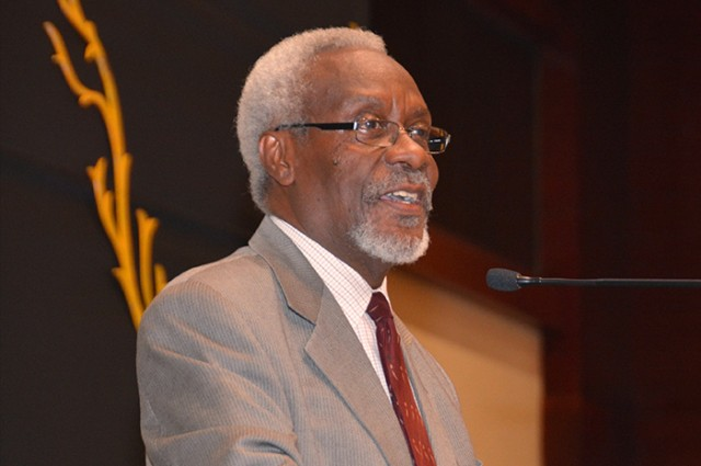 Former Prime Minister, Most Hon. P.J. Patterson, addresses yesterday's (June 17) closing ceremony of the 6th Jamaica Diaspora Conference, at the Montego Bay Convention Centre in St. James.