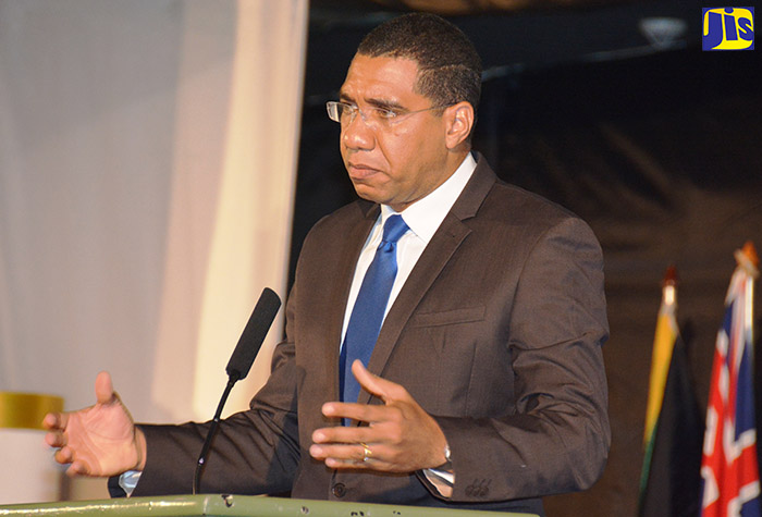 Prime Minister, the Most Hon. Andrew Holness addresses the 14th annual conference of the Organization of Caribbean Utilities Regulators (OOCUR) at the Secrets Resort in Freeport, Montego Bay, on October 26.