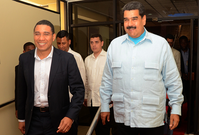 Prime Minister, the Most Hon. Andrew Holness (left), with President of the Bolivarian Republic of Venezuela, His Excellency Nicolás Maduro Moros (right), ahead of a press briefing at the Office of the Prime Minister on Sunday, May 22. The briefing followed bilateral talks between the two countries on trade, energy and culture. The Venezuelan President was on a working visit to Jamaica.