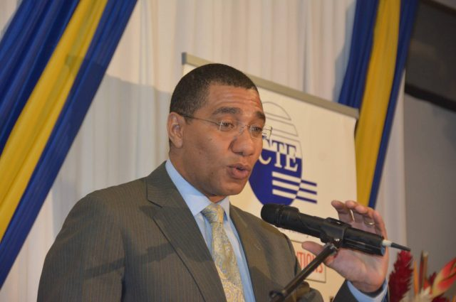 Prime Minister, the Most Honourable Andrew Holness, delivers the keynote address at the Edu-Technical and Vocational Education and Training (TVET) Conference at the Holiday Inn Hotel in Montego Bay, St. James, on December 8