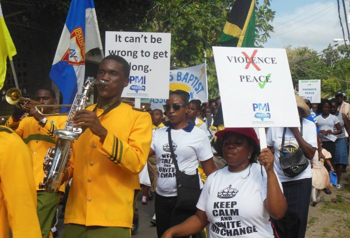 Residents of Salt Spring in St. James marching for peace in their community recently. The event was organized by the St. James Peace Management Initiative (PMI), chaired by Rev. Everton Jackson.