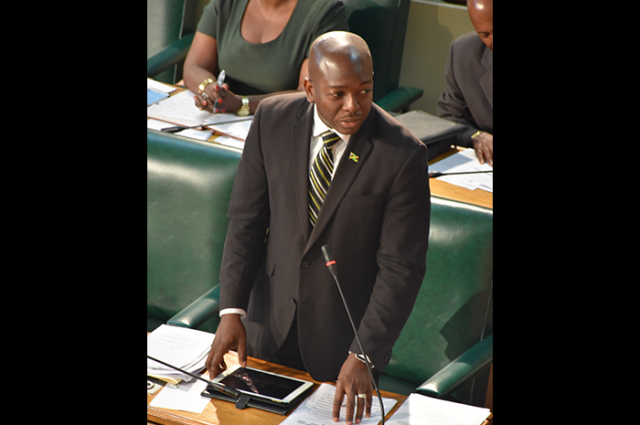 Acting Leader of Government Business in the Senate and National Security State Minister, Senator the Hon. Pearnel Charles Jr., addressing Friday's (October 20) sitting of the Upper House.