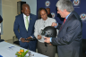 Minister of State in the Ministry of National Security, Senator the Hon. Pearnel Charles Jr. (left); Commissioner of Corrections, Ina Hunter (centre); and United States Ambassador to Jamaica, His Excellency Luis Moreno, examine riot gear donated by the US Government to the Department of Correctional Services during a ceremony at 122 East Street in Kingston on February 8.