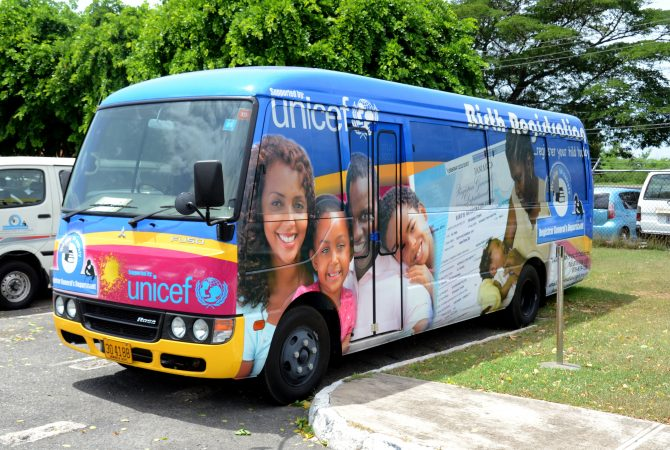 The bus used by the Mobile Customer Service Unit of the Registrar General's Department. The Registrar General's Department, is undergoing a transformation with a number of initiatives that has helped to improve service delivery and reduce the number of customer complaints.