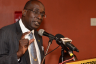 Education, Youth and Information Minister, Senator the Hon. Ruel Reid, emphasizes a point during a press briefing at the Jamaica Conference Centre in downtown Kingston on Friday, May 6, following the Ministry's consultations with high school board chairpersons, principals and bursars on the Government's proposed tuition fee policy at that venue.