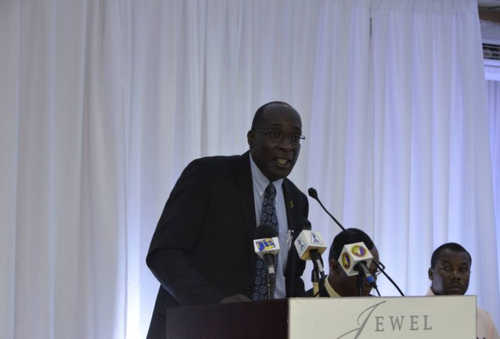 Minister of Education, Youth and Information, Senator the Hon. Ruel Reid, addresses the National Parent-Teacher Association of Jamaica's (NPTAJ) Annual General Meeting in Montego Bay on May 28.