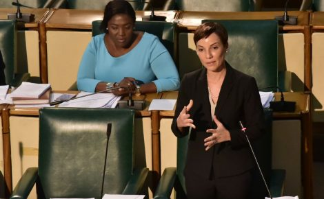 Leader of Government Business in the Upper House, and Minister of Foreign Affairs and Foreign Trade, Senator the Hon. Kamina Johnson Smith (at podium), pilots the new Road Traffic Bill in the Senate on Friday (April 27). At left is Government Senator, Kerensia Morrison.
