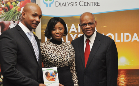 High Commissioner to the United Kingdom, His Excellency Seth George Ramocan (right), shares a photo opportunity with operators of the Zierlich Dialysis Centre in Montego Bay, André Nelson (left) and Dainty Powell. Occasion was the UK launch of the facility on January 5 at the High Commission in London.