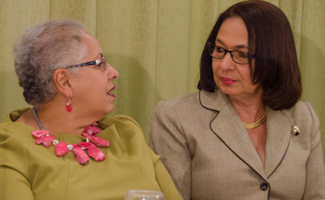 Minister of Labour and Social Security, Hon. Shahine Robinson (right), in conversation with Director of the United Nations Population Fund, Alison Drayton, during the launch of Senior Citizens' Week 2017, held on September 21 at The Knutsford Court Hotel in Kingston. Under the theme 'Seniors Promoting Intergenerational Solidarity', Senior Citizens' Week will be observed from September 24 to October 3.