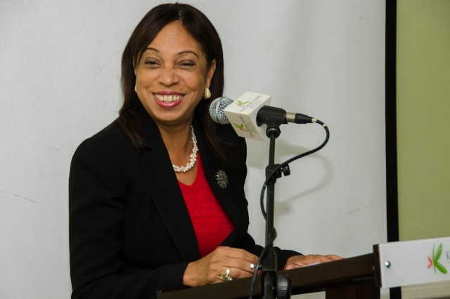 Minister of State in the Ministry of Industry, Investment and Commerce, Hon. Sharon Ffolkes Abrahams, addressing a CARICOM Rapid Alert System for Information Exchange on Dangerous Goods (CARREX) sensitisation workshop on Friday (Sept. 26), at the Knutsford Court Hotel in New Kingston.
