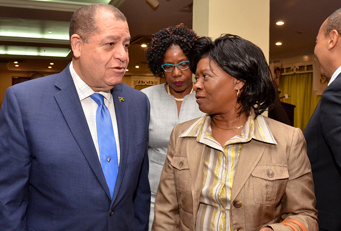 Finance and the Public Service Minister, Hon. Audley Shaw (left), in discussion with Director of Human Resources at the Jamaica Information Service (JIS), Mrs. Bernita Locke, at the Jamaica Employers' Federation (JEF) Breakfast meeting, held at The Knutsford Court Hotel, on September 13.