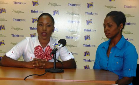 Two of the beneficiaries of scholarships to the Sandals Corporate University, Internal Audit Manager, Sherifa Brown (left) and Group Purchasing Administrator at Sandals Resorts International, Trishone Flowers speak on the value of the training they received at the school. The ladies were addressing a JIS Think Tank in Montego Bay recently.