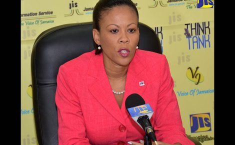 Environment and Project Officer at the Jamaica Social Investment Fund (JSIF), Stacey-Anne Preston highlights plans for the development of a National Risk Information Platform (NRIP), at a JIS Think Tank session.