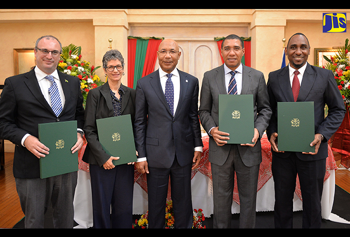 Governor-General, His Excellency the Most Hon. Sir Patrick Allen (centre), joins stakeholder representatives, who signed the Partnership for a Prosperous Jamaica agreement at King's House on Wednesday, December 7. They are Prime Minister, the Most Hon. Andrew Holness (2nd right), representing the Government; Private Sector Organisation of Jamaica (PSOJ) President, Paul B. Scott; Jamaica Environment Trust (JET) Chief Executive Officer, Diana McCaulay, representing civil society; and Jamaica Civil Service Association (JCSA) President, O'Neil Grant, on behalf of the Jamaica Confederation of Trade Unions (JCTU).