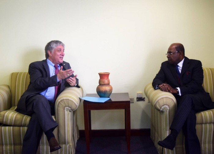 Minister of Tourism and Entertainment Hon. Edmund Bartlett (right) met with the US Ambassador to Jamaica Luis Moreno at the Ministry's New Kingston Offices on March 9, 2016.  The pair and other senior officials from the Ministry of Tourism and the US Embassy discussed the prospects of preclearance operations for Jamaica, efforts to boost the presence of US brands in the local hotel industry as well as visitor safety.  This is Ambassador Moreno's second meeting with a member of newly appointed Cabinet, which was sworn in on Monday March 7, 2016. The US Ambassador and his staff are also the first foreign officials to meet with Mr. Bartlett since his return to the Ministry in his second stint as Minister.