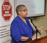 Permanent Secretary in the Justice Ministry, Carol Palmer, addresses the final in the series of Regional Trafficking in Persons (TIP) School Awareness Tours, at the University of the West Indies (UWI) Regional Headquarters in Mona, St. Andrew on January 19.