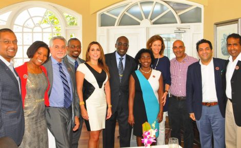 Education, Youth and Information Minister, Senator the Hon. Ruel Reid (centre) with the newly installed University of the West Indies-Western Jamaica Campus (UWI-WJC) 2016 Ambassadors at a ceremony held at Sandals Montego Bay in St. James on Friday, May 20. Pictured from left are: Wayne Cummings, Kerry-Ann Quallo-Casserly, Richard Bourke, Acting Director of UWI-WJC, Patrick Prendergast, Paula Kerr-Jarrett, Gloria Henry, Kathryn May, John Byles, Rajesh Kripalani, Richard Ferdinand.