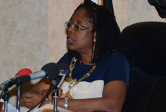 Mayor of Kingston, Senator Councillor Angela Brown Burke, addresses a Kingston and St. Andrew Corporation (KSAC) monthly meeting, held at the Council's offices  in downtown Kingston on January 13.