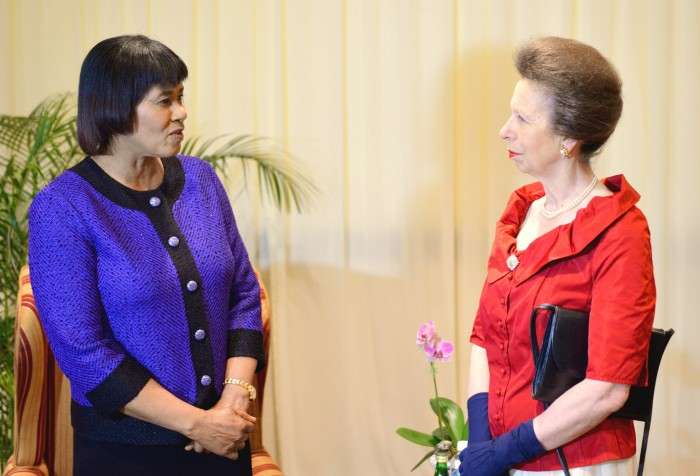Prime Minister, the Most Hon. Portia Simpson Miller (left), interacts with Her Royal Highness, the Princess Royal, ahead of the Caribbean-Canada Emerging Leaders' Dialogue (CCELD) 2015 dinner, held at the Pegasus Hotel on Thursday (October 1). The CCELD, a programme geared at building the capacity of selected business, Government and civil society leaders across the Caribbean and Canada, is hosting its closing ceremony in Jamaica today (October 2). The Princess Royal is the President of the CCELD and is in the island on a three-day official visit.
